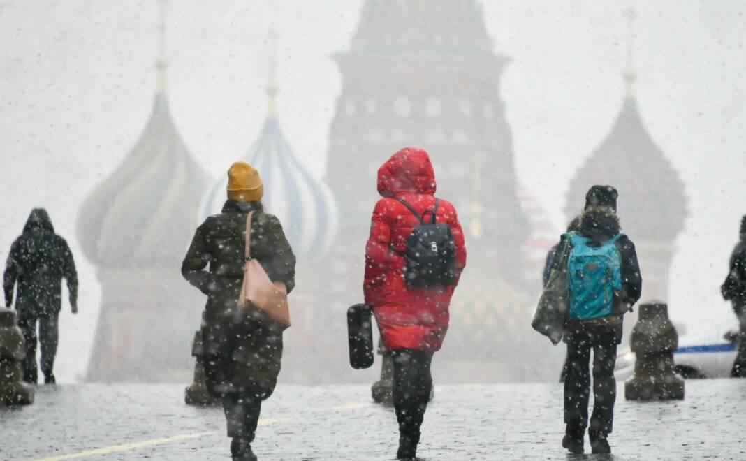 Москва. Снег с дождём